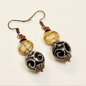Artisan Jasper & Tibetan Prayer Bead Earrings